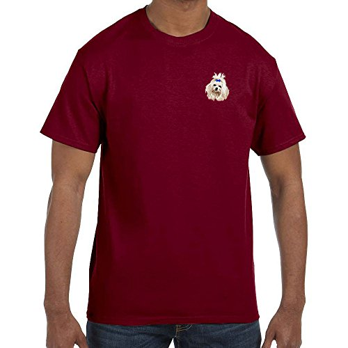 Cherrybrook Dog Breed Embroidered Mens T-Shirts - X-Large - Garnet - Maltese