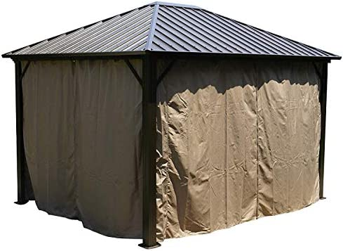 Kozyard Rosana Hardtop Aluminum Permanent Gazebo with 2-Layer Sidewalls 10ftx12ft