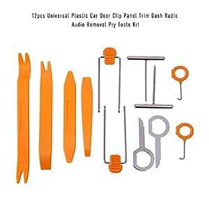 KKmoon Car Dash Board Door Radio 12pcs Universal Plastic Car Door Clip Panel Trim Dash Radio Audio Removal Open Pry Tools Kit