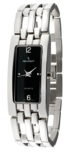 Peugeot Women's 1013BK Silver-tone Rectangular Open Link Bracelet Watch