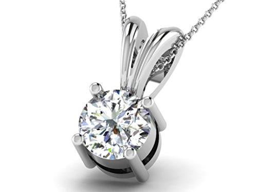 Or Blanc 14 ct Pendentifs Diamant solitaire, 0.18 Ct Diamant, GH-SI, 0.49 grammes.