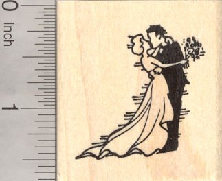 Bride and Groom Wedding Rubber Stamp, Kiss the Bride (Bride Rubber Stamp)