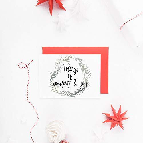 - Rustic Christmas Card Set, Joyful Tidings, Christmas Wreath Cards, Traditional Christmas Cards Set of 10