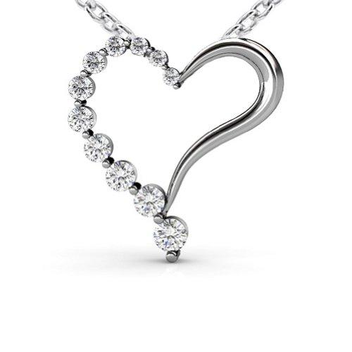 Pendant Carat 1 Journey Diamond - 1.00 Ct Journey Heart Love Shape Round Cut Diamond Pendant / Necklace 18 Kt White Gold