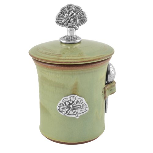 Oregon Stoneware Studio Dragonfly Salt Pot with Pewter Finial, Pistachio