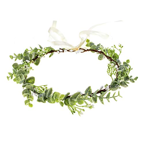 (Floral Fall Artificial Baby Breath Flower Halo Wedding Crown Pink Bridal Headpiece Greenery Crown HC-24 (Eucalyptus Crown))