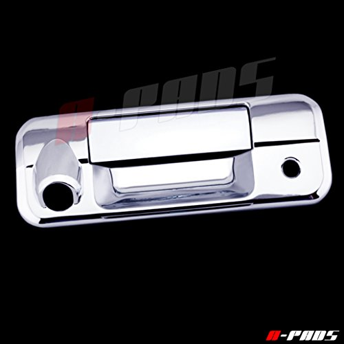 (A-PADS Chrome Tailgate Cover for Toyota TUNDRA 2007-2013 - WITH Camera Hole & WITH Keyhole)