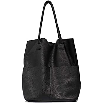 Women s Shoulder Bag STEPHIECATH Genuine Leather Large Casual Soft Real  Leather Skin Tote Vintage Snap Basket Carry Bag (BLACK) a7a4aa54f987c