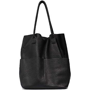 87a05034d957 Women s Shoulder Bag STEPHIECATH Genuine Leather Large Casual Soft Real  Leather Skin Tote Vintage Snap Basket Carry Bag (BLACK)