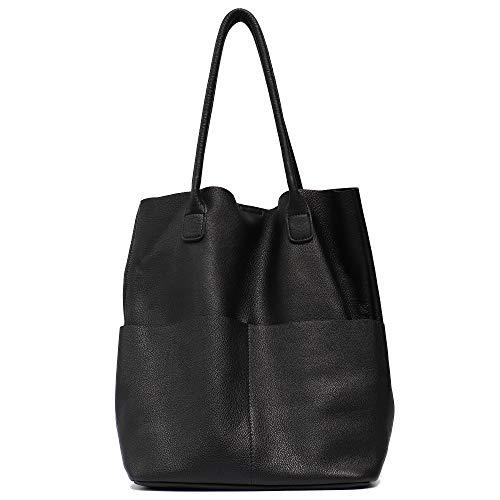 (Genuine Leather Women's Shoulder Bag STEPHIECATH Large Casual Soft Real Leather Skin Tote Vintage Snap Basket Carry Bag (BLACK))