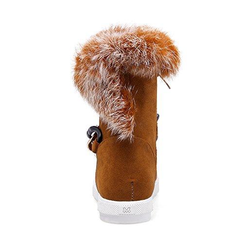 Carolbar Womens Zip Fuskpäls Kedjor Mode Varm Låg Klack Vinterkängor Gulbrun