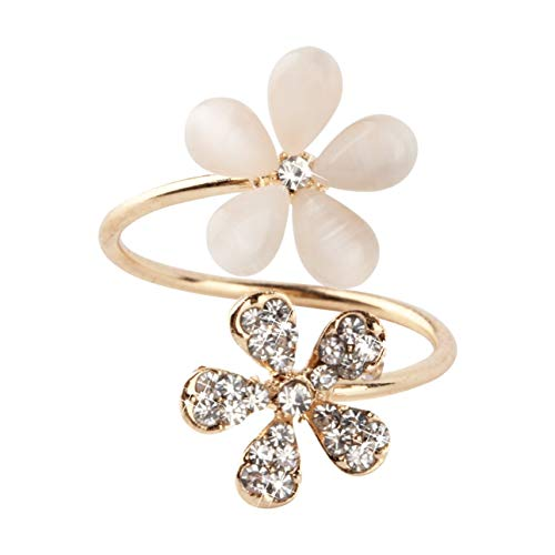Smartlove1P 1 pc Crystal Double Daisy Flower Petals Ring Cute Brand Design Rhinestone Adjustable Rhinestone Ring for Women Fine Jewelry