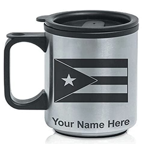 Coffee Travel Mug - Flag of Puerto Rico - Personalized Engraving Included - Puerto Rico Kitchen