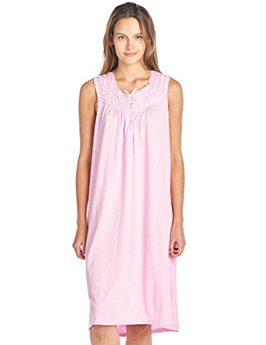 - Casual Nights Women's Fancy Lace Trim Sleeveless Nightgown - Dot Pink - Large