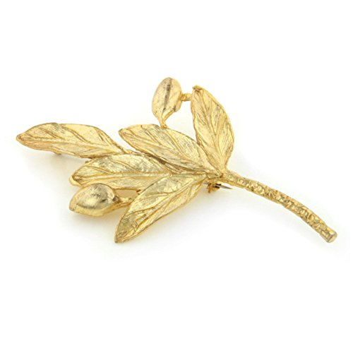 - Silver Insanity Extra-Large Olive Branch Leaf Gold Overlay Jewelry Pin Brooch