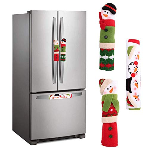 MIDOLO 3 Piece Set Christmas Snowman Refrigerator Appliance Handle Covers Christmas Decorations Fits Standard Size Kitchen Refrigerator Microwave Oven Or Dishwasher (Green and Red)