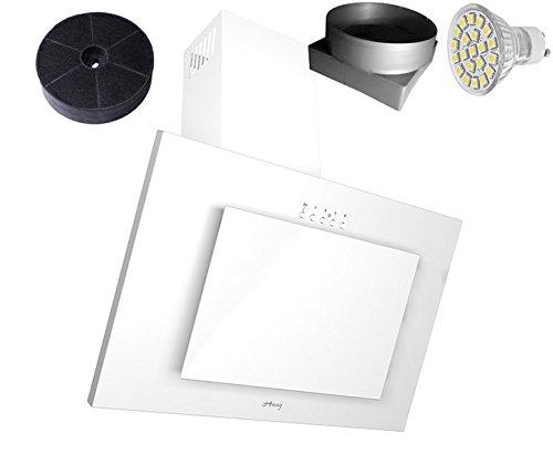 HAAG Vertikal Weiß + Glas + LED, Kohlefilter GRATIS! BREITE 60 cm Dunstabzugshaube, Kopffrei, Wandhaube [Energieklasse C]