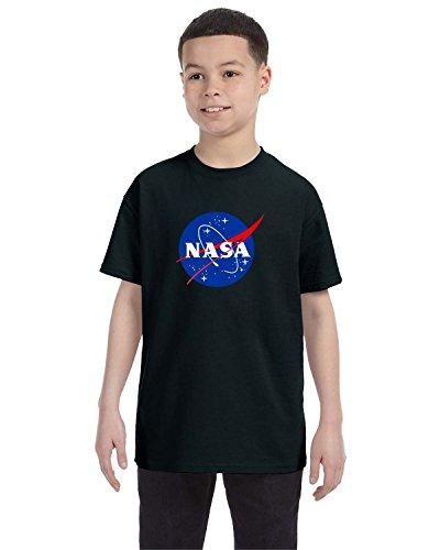 econoShirts NASA Meatball Logo Youth Shirt Space Shuttle Rocket Science Geek Boys Kids GirlsTee (Large, Black)
