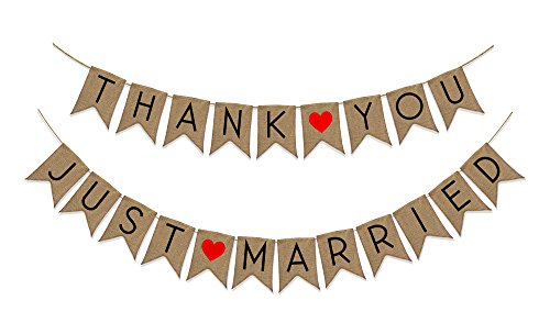 "[2 PACK - ""Just Married"" & ""Thank You"" Burlap Banner Pack - Wedding Decorations for Reception, Bridal Shower and Engagement Photos – Wedding Signs Garlands and Bunting Banners] (Superhero Comics Flag Banner Kit)"