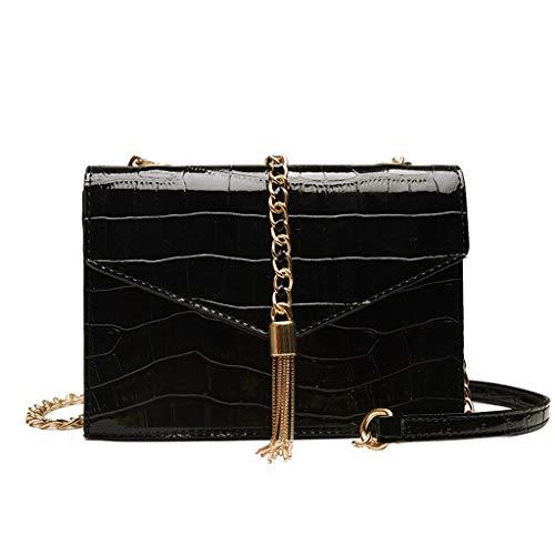 (KLGDA Fashion Womens Snake Pattern Handbag Fringed Leather Chain Diagonal Cross Bag Shoulder Bag Wallets)