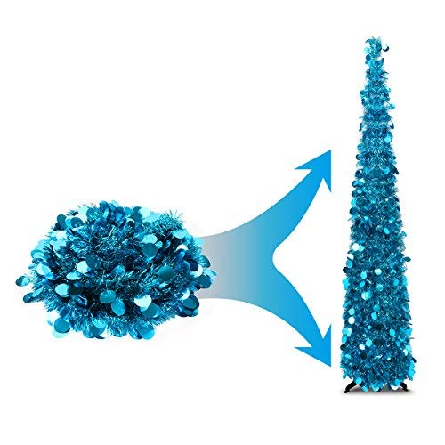 Joy-Leo 5 Foot Blue Pop-up Collapsible Tinsel Pencil Indoor Christmas Tree with Shiny Sequins for Fireplace & Party & Office & Classroom Decor, Beach Folding Artificial Xmas Trees for Home Decoration