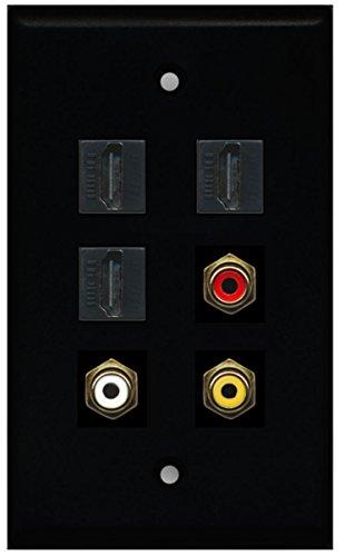 Rca Black Plate - RiteAV - 3 HDMI 1 Port RCA Red 1 Port RCA White 1 Port RCA Yellow Wall Plate - Black