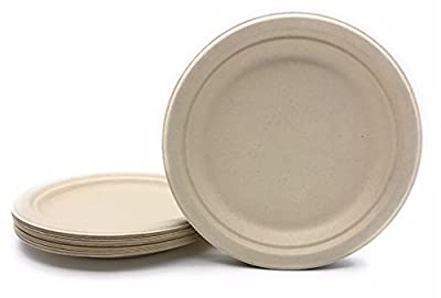 "Bagasse - Natural Sugarcane Fibers HARVEST PACK Nine (9"") inch (in) Round Disposable Plates Compostable Eco Friendly Environmental Paper Alternative 100% by-product Tree Free Plastic Free"
