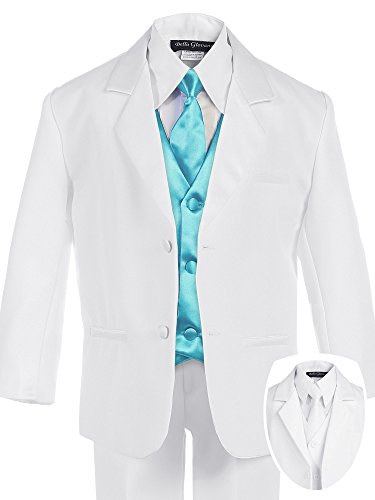 Bello Giovane Boys White Formal Suit with Satin Colored Vest 7 Piece Set (14, Turquoise) - Satin Suit