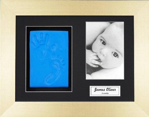 Anika-Baby BabyRice Baby Boy Handprint Footprint Kit Soft Blue Clay Dough Brushed Gold Box Photo Display Frame