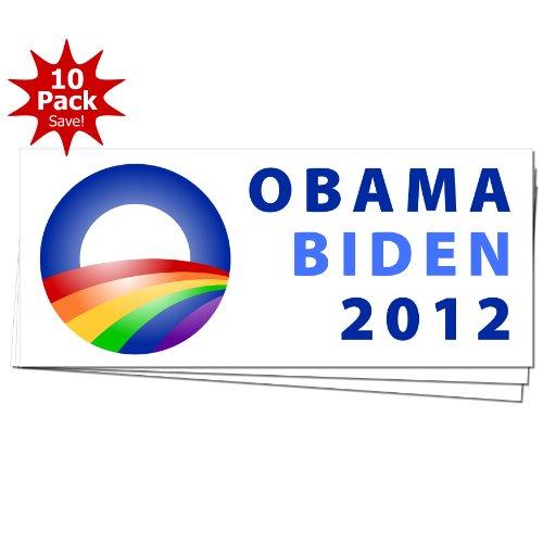 Obama Biden 2012 LGBT Marriage Rainbow Campaign Logo Window Bumper Sticker (Obama Biden Bumper Stickers)