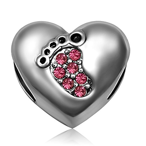JMQJewelry Heart Love Baby Footprints October Pink Birthstone Crystal Dangle Charm Beads for Bracelets ()
