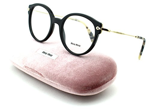 Miu Miu 04PV Women Round Prescription RX Eyeglasses Black - Prescription Miu Miu Eyewear