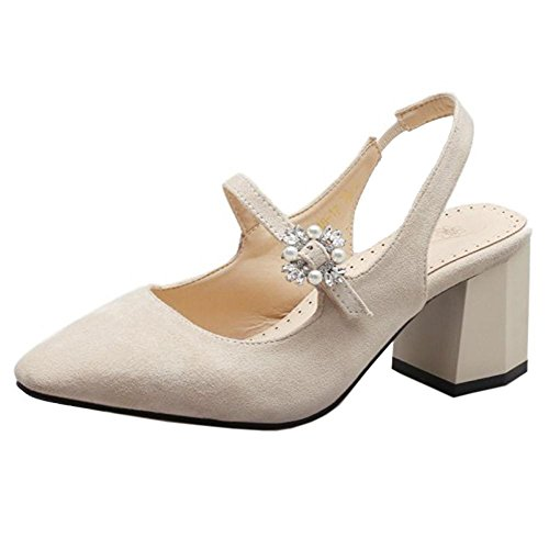 Coolcept Mujer Chunky Tacon Sandalias Beige