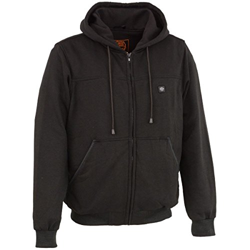 Milwaukee Leather Mens Zipper Front Black Heated Hoodie - X-Large