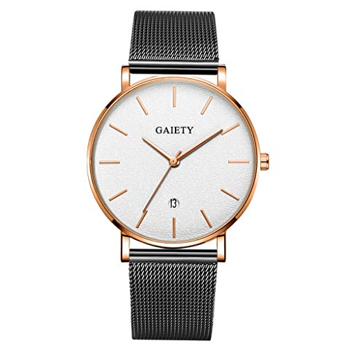 LUCAMORE Ultra Thin Mens Analog Quartz Watch Minimalist Mesh Stainless Steel Band Casual Business Wrist Watch with Date