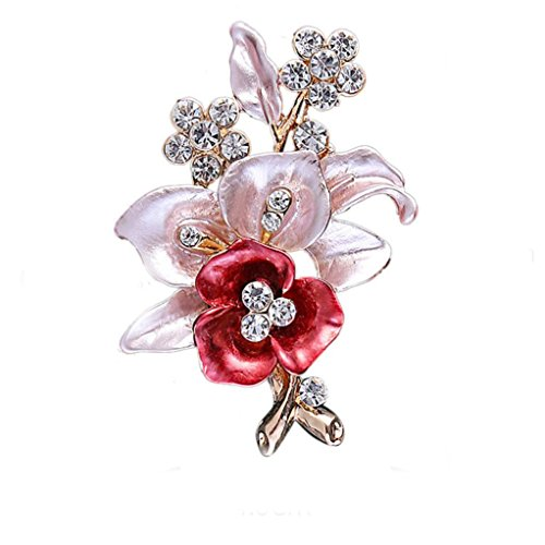 Botrong® Flower Brooch Crystal Rhinestone Diamante Wedding Broach Bridal Party Pin - Designer Diamante Pink Flower