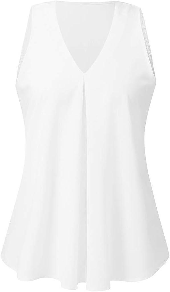 Teresamoon Women V Neck Chiffon Basic Tank Top Sleeveless Loose Fitting Tunic