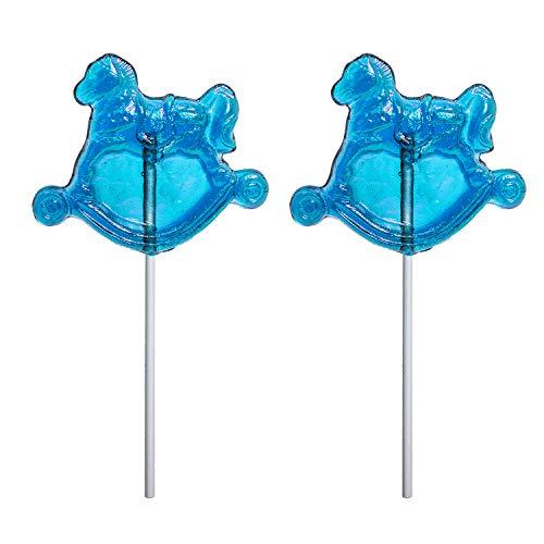 Boy Baby Shower Blue Rocking Horse Hard Candy Lollipop 100% USA Made