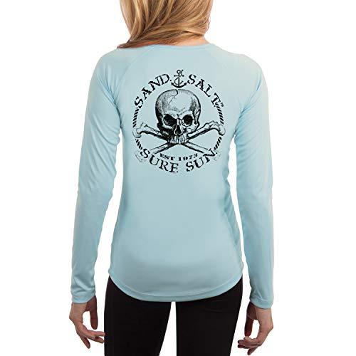 SAND.SALT.SURF.SUN. Black Skull Women's UPF 50+ Long Sleeve T-Shirt XX-Large Arctic Blue