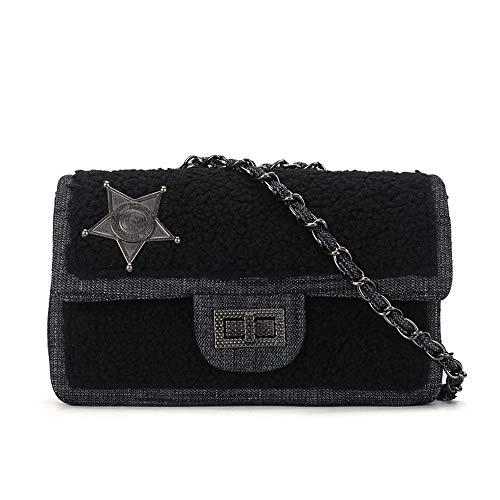 Purses and Handbags Crossbody with Chain Small Crossbody Bag Denim Black Purse Designer Shoulder Bag