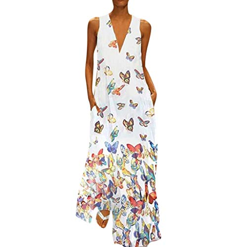 Maxi Dresses for Women丨Deep V Neck Boho Butterfly Print Summer Casual Sleeveless Dress丨Womens Loose Party Dress Plus Size(White,M) Butterfly Print V-neck Dress