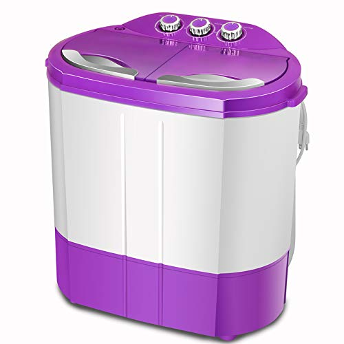 4-EVER Portable Mini Compact Washing Machine Twin Tub Washer and Spinner Dryer Combo Ideal For Dorms Apartments RV's College Rooms Camping 9.9LBS(Purple)