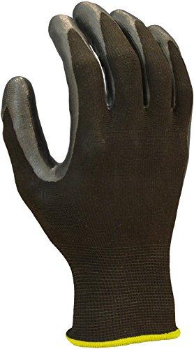 Azusa Safety N10501E 13 Gauge Polyester Work Gloves, Black Nitrile Coated Finish, Black/Black, Large (12 Pairs) ()