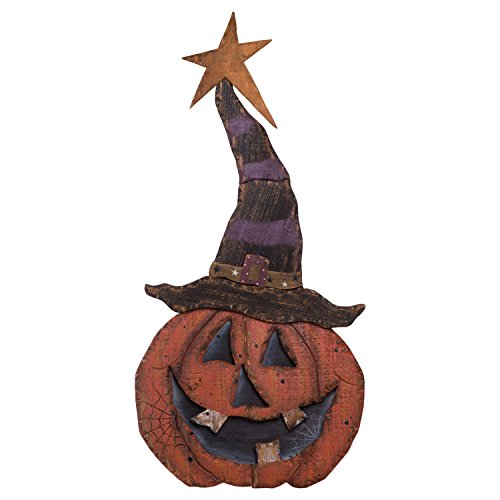 Wooden Halloween Decorations (One Holiday Way Large Rustic Wooden Jack O Lantern Pumpkin in Witch Hat Standing Halloween)