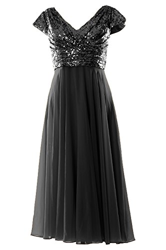MACloth Cap Sleeve V Neck Sequin Chiffon Tea Length Bridesmaid Dress Formal Gown (24w, Black)