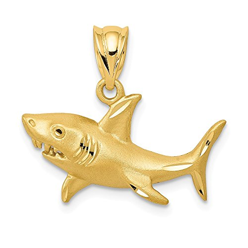 - 14K Yellow Gold Satin & Diamond Cut Shark Pendant