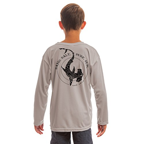 - SAND.SALT.SURF.SUN. Polynesian Hammerhead Tribal Youth UPF 50+ UV/Sun Protection Long Sleeve T-Shirt Medium Athletic Grey