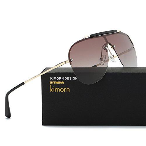kimorn Marrón Metal Marco Retro sol Hombre Polarizado de K0557 Pilotos Estilo Gafas 1xqZrFw1