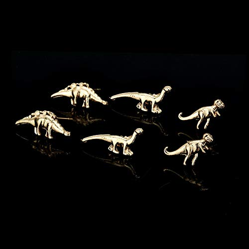 Tomikko 3/6Pairs Dinosaur Earrings Cute Gold Silver Ear Stud Small Unisex Set Jewelry | Model ERRNGS - 11073 | 3 Pair -
