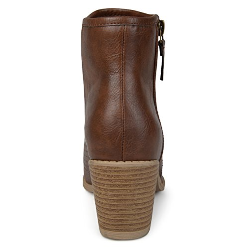 Brinley Co. Womens Malak Faux Leather Faux Wood Comfort-Sole Stacked Heel Laser-Cut Booties Brown, 7.5 Regular US by Brinley Co (Image #3)